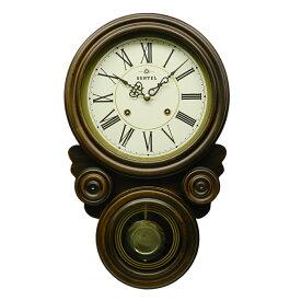 振り子 時計 壁掛け 木製 ブラウン 八角形 だるま 四つ丸 四つ目 ボンボン時計 ぼんぼん 日本製 ギフト プレゼント アンティーク レトロ インテリア リビング
