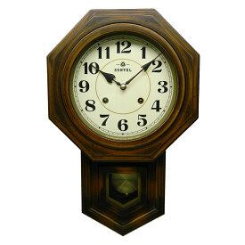 ボンボン時計 ぼんぼん時計 ブラウン 八角形 日本製 木製 ギフト プレゼント インテリア リビング レトロ アンティーク