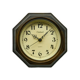 八角形 ミニ 壁掛け時計 掛け時計 日本製 木製 レトロ アンティーク ギフト プレゼント インテリア さんてる