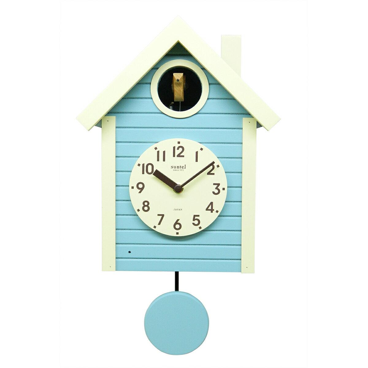 鳩時計 おしゃれ さんてる 北欧 アクアブルー 電子音 壁掛け 日本製 木製 ギフト プレゼント インテリア 父の日