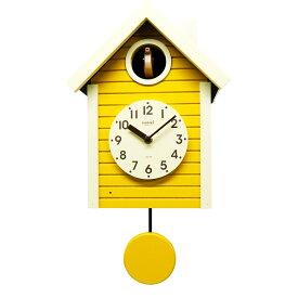 鳩時計 おしゃれ 北欧 さんてる 木製 イエロー 掛け時計 壁掛け時計 柱時計 日本製 ギフト プレゼント インテリア ナイトセンサー