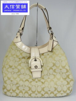 COACH coach bag sawhorsigneure large hobor shoulder Tote f17409 beige x pink used A control number:-4199.