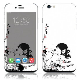 【即納】 iPhone6/6Plus/6s/6sPlus スキンシール DecalSkin [TM21/スカル&フラワー] デコシール デコシート 背面シール iPhone 6 6Plus 6s 6sPlus iPhone6 iPhone6Plus iPhone6s iPhone6sPlus 送料無料