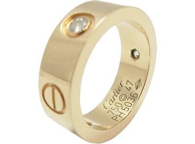 カルティエ ラブリング 3P ダイヤモンド 750 YG Cartier 指輪 【中古】