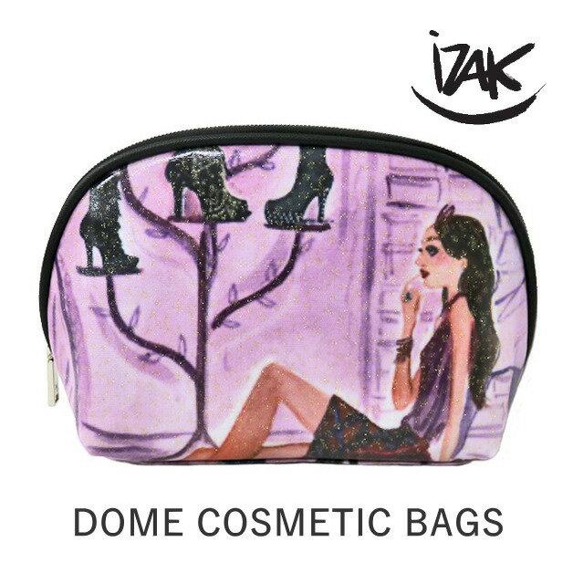 新作!iZAK/アイザック/コスメポーチ/small Dome Cosmetic Bag ドーム型 イラスト 小物入れ  コスメ雑貨 丸型 パープル 紫 ブーツガール IZ-GSD02-SHO IZAK