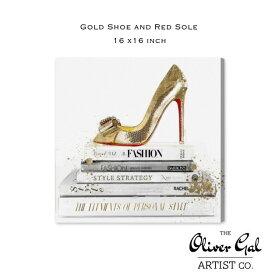 【OliverGal】オリバー・ガル/アート/絵画/インテリア雑貨/ゴールドヒール ファッションBook デザイン/Gold Shoe and Red Sole 18397 16×16インチ オリバーガル