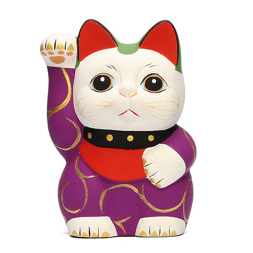 ■ KARAKUSA MANEKI NEKO S PURPLE (唐草 招き猫 パープル S 紫唐草) 【AS】