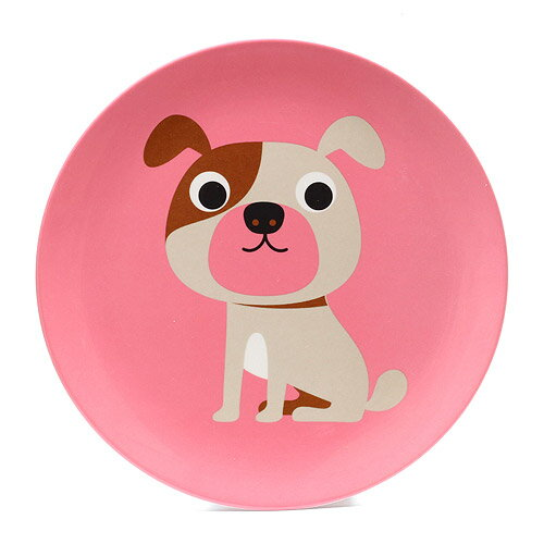 OMM DESIGN MELAMINE PLATE DOG WITH PINK (OMM デザイン メラミン プレート ドッグ ウィズ ピンク)【AS】