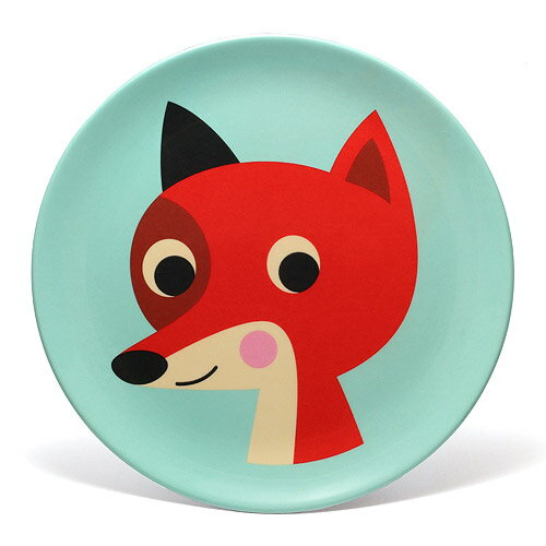 OMM DESIGN MELAMINE PLATE FOX WITH MINT (OMM デザイン メラミン プレート フォックス ウィズ ミント) 【AS】