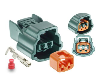 /2P090WPK-62E-GRE-F with Sumitomo Wiring Systems 090 type 62 waterproofing series E type 2 pole F connector (green) terminal