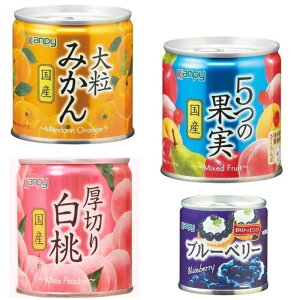 新着 にぎわい広場  カンピー国産 フルーツ 缶詰 白桃、みかん、5つの果実 ブルーベリー セット 4缶 セット 関東圏送料無料
