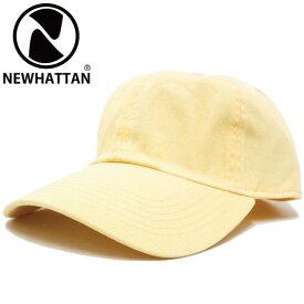 キャップ NEWHATTAN ニューハッタン コットン 無地キャップ 6パネル ライトイエロー cap-1024-04【YDKG-td】【RCP】帽子 メンズ レディース 秋冬 UV 紫外線 対策 野球帽 ベースボールキャップ サイズ調節 あす楽 ギフト プレゼント
