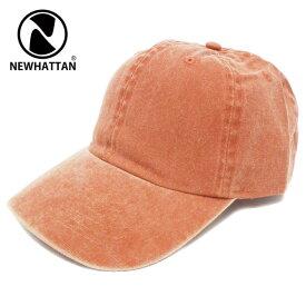 キャップ NEWHATTAN ニューハッタン pigment dyed cap コットンローキャップ ウォッシュカラー オレンジ cap-1043-02【YDKG-td】【RCP】帽子 メンズ レディース 秋冬 UV 紫外線 サイズ調節 あす楽 ギフト プレゼント