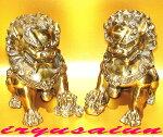 銅製金風水獅子(対)