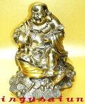 銅製金運珍獣風水三本脚の蛙乗り開運布袋様像
