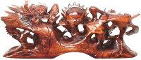 紅木手彫り風水龍「双龍争珠」