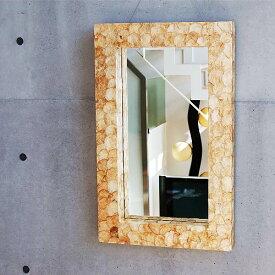 シェルミラー(ゴールド) 80×50/鏡 ミラー 壁掛け ワイドミラー 角型 洗面 玄関 リビング 廊下 シェル カピス貝 カピスシェル おしゃれ 癒し ナチュラル モダン インテリア アジアンテイスト バリ ハワイアン リゾート サロン 美容室 金