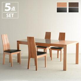 ダイニングテーブル 5点セット ダイニングテーブルセット 4人 ダイニングテーブル 5点セット 伸縮 ダイニングテーブルセット 4人 木製 ダイニングセット 北欧 ミッドセンチュリー おしゃれ レトロ 2人掛け 食卓テーブル