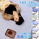 スーパーSALE特価! ラグ 夏用 ひんやり 接触冷感 カーペット 洗える 185×185cm ウレタン10mm 厚手 ひんやりマット …