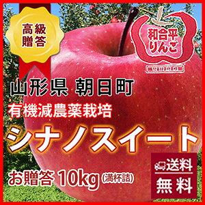 シナノスイート りんご 送料無料 リンゴ 国産 果物 葉取らずりんご 【 贈答用 朝日町 和合平シナノスイート 10kg 満杯詰め 10月上旬〜20日頃 】 有機減農薬栽培 山形 贈答 贈答用 蜜入りリンゴ