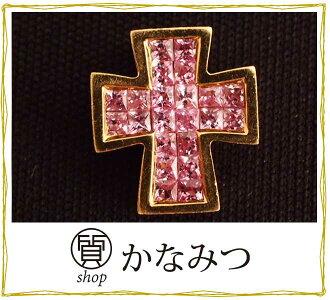 쁘띠 목걸이 핑크 사파이어 크로스 펜던트 톱 목걸이 중고 K18 18금 십자가 미스터리 세팅