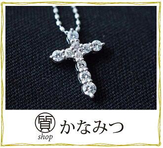 크로스 목걸이 Pt900/850 다이어 쁘띠 목걸이 다이아몬드 펜던트 톱 중고 백금