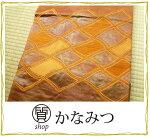 名古屋帯正絹着用可能仕立て上がり茶色カジュアルリサイクル紬激安単衣