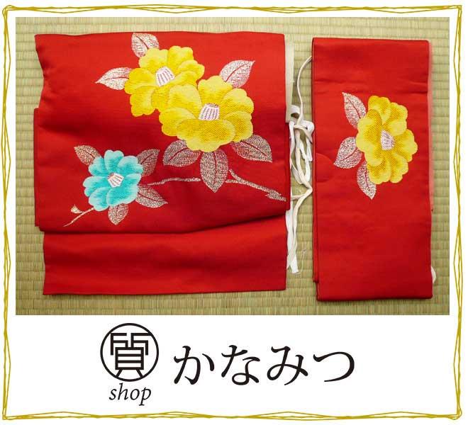 送料無料 作り帯 正絹 赤色 花 カジュアル