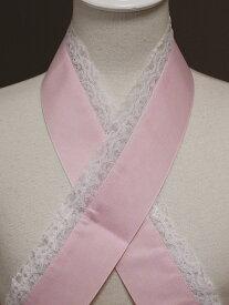 ヤマトD・M便送料無料 浴衣にぴったりです 綿地にレース付・ピンクの重ね衿 Z0423