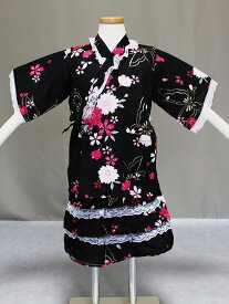 白レース付き女の子用甚平(じんべい) 花柄にレースが付いた浴衣ドレス 110サイズの甚平 Z6259-01