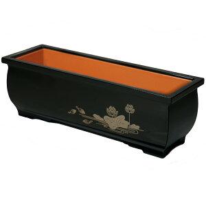 長香炉 黒色 蓮柄 5.0寸[仏具]【線香を寝かせて使えます】