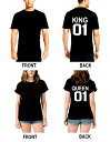 【送料無料】【今世紀最高レベルのカップルTシャツ♪】king queen Tシャツ◆男女兼用 バックプリント