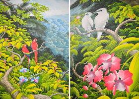 送料無料適応外<代金引換不可>特大バリ絵画プンゴセカン花鳥風月(220×150cm)インドネシアバリ島アジアンエスニックリゾートインテリア絵画額付きアジアンアートアクリル水彩画PIC-0091