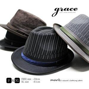 メンズ ハット ゴルフ 帽子 メンズハット メンズ帽子 ゴルフ帽子 中折れハット 大きいサイズ ビッグサイズ XL コーデュロイ ストライプ サイズ調節 grace グレース URBAN ROMI HAT