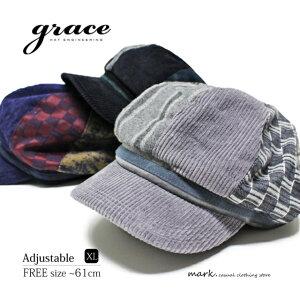 メンズ キャスケット ゴルフ 帽子 メンズ帽子 ゴルフ帽子 大きいサイズ 春 秋 冬 サイズ調節 クレイジーパターン 切替え grace グレース DEER CASQUETTE XL