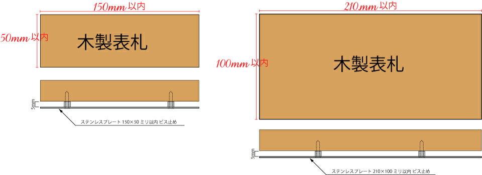 単独購入不可 木製表札用ステンレスプレート裏面5ミリ浮かせて大きさにより2〜4点ビス止め