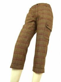 【中古】パサデココ PASA DE COCO 茶ブラウン系 ロゴ刺繍 美脚クロップドパンツ 小さいサイズ 36号 レディース ボトムス