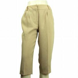 【中古】レオナールスポーツ LEONARD SPORT 美ベージュ ロゴ刺繍 美脚パンツ 40号 レディース ボトムス
