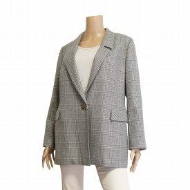 【中古】アニオナ AGNONA 伊製 高級ウールジャケット 大きいサイズ 42号 秋冬 レディース アウター