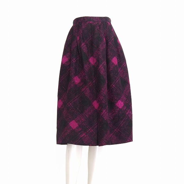 【中古】 YvesSAINTLAURENT イヴ・サンローラン 艶紫 シルク混 優雅スカート 小さいサイズS 春夏 レディース
