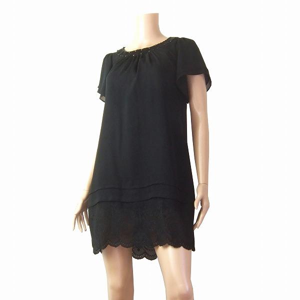 【中古】 courregesクレージュ 黒 ビジュ 綺麗刺繍チュニックワンピース40 春夏 レディース