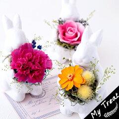 バニー・ブーケ【クリアBox入】ギフト母の日うさぎの花雑貨花プリザードフラワ無料香りお祝い結婚祝新築祝お誕生日