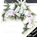 全長60cm!玄関ドアにオシャレなナチュラルなクリスマススワッグ(造花) シャクヤク/クリスマスリース/玄関リース/アートフラワー【…