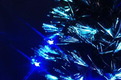 クリスマスツリー90cmブラックファイバーツリーセット14LED付き