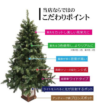 クリスマスツリーフィルムポットスリムツリーセット150cm木製ポットツリーオーナメントセット