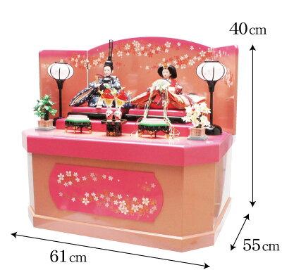 雛人形ひな人形限定特価三五親王桜六角収納飾り