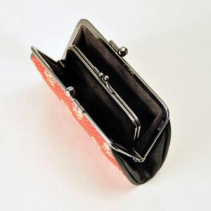 印傳屋印伝屋財布【●】340親子蟇口(がまぐち)赤地白漆・コスモス無料ラッピング承ります【レディース財布/がま口財布】