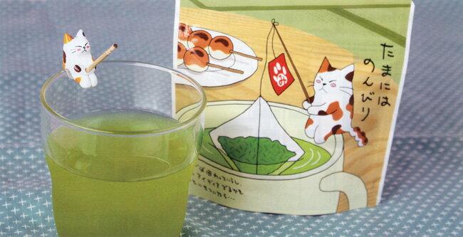 お兄ちゃんにゃオ〜たまにはのんびりみたらしちゃんNo5769お茶のふじい・藤井茶舗 ねこちゃんのティーバック釣り姿でのんびりお茶にしましょうにゃ〜 子猫のミャアミャア〜