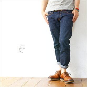 LIFE IS...[生活是]SLIM FLAT STRETCH DENIM PANTS[PA-346]纤细平地伸展粗斜纹布MEN'S