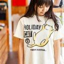 猫 ねこ Tシャツ HOLIDAY CAT ( ナチュラル )   ネコ 猫柄 猫雑貨   メンズ レディース 半袖 トップス   かわいい お…